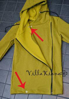 Villa Kiana: Sivuvetoketjullisen hupparin ompelu - kuvalliset ohjeet