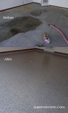 Garage Epoxy Coating - Fort Wayne IN - Toledo OH - Before & After.  Repin & Click For More Info or Quote @ Your Home / Business