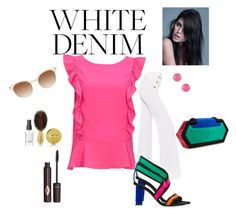 """White Denim"" by chauert ❤ liked on Polyvore featuring Balmain, Charlotte Tilbury and Kate Spade"