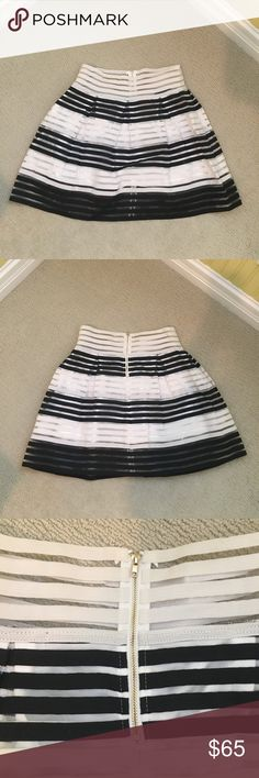 "🆕Romeo &a Juliet Couture Skirt This Romeo & Juliet Couture skirt is NEW with tags, never worn! Perfect condition! Black and white striped with a white lining underneath. 6"" zipper in the back. So fabulous and classic, can be dressed up for work, or dressed down for a night out. Romeo & Juliet Couture Skirts"