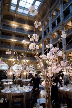Baltimore Spring Wedding Peabody Library Reception Cherry Blossoms 275x413 Sylvia + Tim's Baltimore Wedding at the George Peabody Library