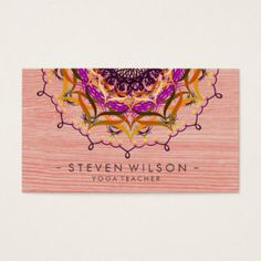Massage therapy red lotus appointment card natural therapy mandala damask yoga meditation holistic massage business card accmission Images