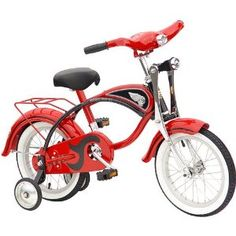 Charming Retro Bike with removable training wheels. 14 Inch Bike, Bike Birthday Parties, Kids Cycle, Fire In My Soul, Retro Bike, Kids Bike, Pedal Cars, Tricycle, Look Cool