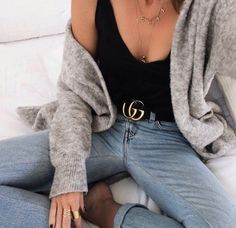 grey cardigan + black tank + gucci double buckle belt + denim