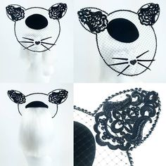 Cat hat fascinator mask with whiskers and heart nose, Coming to Pearls & Swine site soon! One of a kind headpiece by Bink at pearlsandswine.com ❤