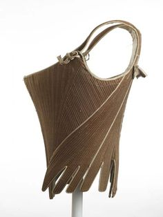 Corset of brown cotton twill with shoulder straps that tie at front with cotton (linen? holes down centre back for closure. 18th Century Stays, 18th Century Dress, 18th Century Clothing, 18th Century Fashion, Historical Costume, Historical Clothing, Vintage Underwear, Corset Pattern, London Museums