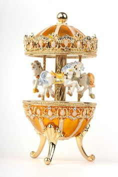 Blue Easter Egg Horse Carousel Trinket Box by Keren Kopal music box with crystal for sale online Faberge Eier, Carousel Horses, Teapots And Cups, Egg Art, Egg Shape, Egg Decorating, Trinket Boxes, Lovers Art, Inspirational Gifts
