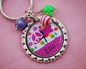 Girls Personalized Bottlecap Necklace or Zipper Pull - Peace Love Dance Dance Party Birthday, Gymnastics Birthday, Personalized Necklace, Personalized Items, Bottle Cap Necklace, Zipper Pulls, Ball Chain, Breast Cancer Awareness, Peace And Love