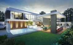 modern house design with pool Residential Architecture, Contemporary Architecture, Amazing Architecture, Interior Architecture, Contemporary Homes, Facade House, Modern House Design, Perth, Brisbane Cbd