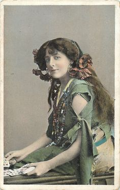 German Gypsy Portrait Postcard Earbows Many Necklaces Playing or Dealing Cards Vintage Movie Stars, Vintage Movies, Bohemian Gypsy, Bohemian Style, Gypsy Fortune Teller, Fortune Telling, Tribal Fusion, Gypsy Soul, Wild Hearts