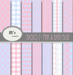 Digital Paper Pack Backgrounds Basic Baby Blue and Pink. Honeycomb, Gingham, Braids, Houndstooth. 14 patterned + 3 plain digital papers