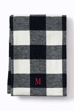 Black & White Buffalo Plaid Cozy Sorrento Pattern Throw Blanket | Lands' End