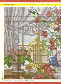bird cage, flowers and bird nest in front of window- 1