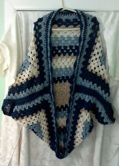 Granny Square Shrug, Cardigan,  Coat Med to Large hand crocheted by DEyreCreativeDesigns on Etsy