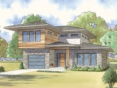 075H-0007: Contemporary House Plan; 3 Bedrooms, 3 Baths