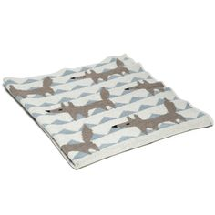 Organic Baby Throw - Baby Fox in Blue