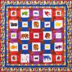 Brown Bear quilt pattern by Gail Kessler for Andover Fabrics, using Brown Bear, Brown Bear What Do You See? fabric collection illustrated by Eric Carle idea Andover Fabrics, Quilt Material, Windham Fabrics, Art Gallery Fabrics, Panel Quilts, Quilt Sizes, Book Quilt, Quilt Patterns Free, Scrappy Quilts
