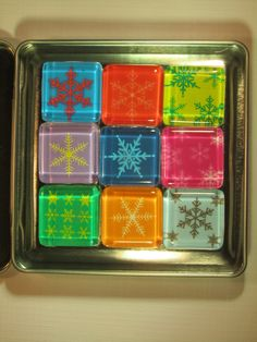 Holiday Decorations Fridge Magnets, Set of 9 Refrigerator Magnets & Storage Tin by DLRjewelry on Etsy (null)