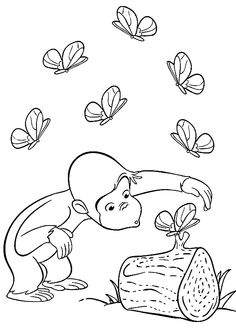 Curious George and butterflies coloring pages for kids, printable free