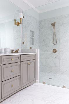 Matte grey vanity with gold accents | Anna Braund