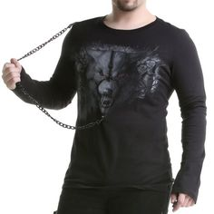 Camiseta Gótica de Chico con Lobo | Crazyinlove España