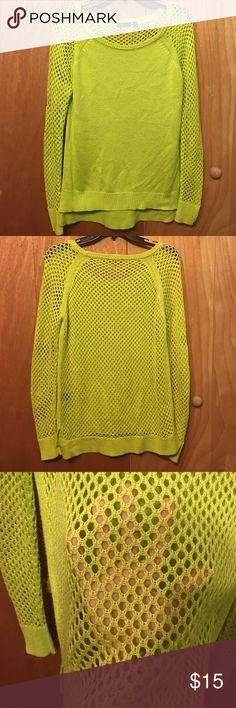 Green sweater with see through arms and back Super cute to wear with leggings Dex Sweaters