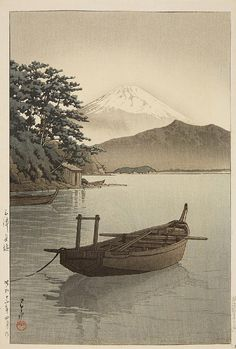 Oban. Series: Shin Tokyo hyakkei. Title: Mito Nagahama. Moored boat on lake, Mount Fuji in the background. Signed: Hasui. Seal: Kawase. Publisher: Watanabe Shosaburo. Date: Showa 12 (1937). Stamped on verso: Made in Japan.