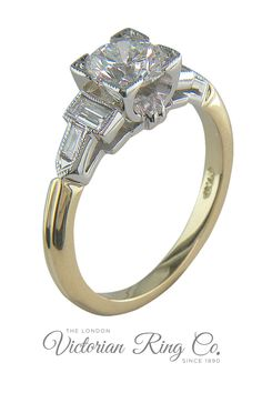 This vintage style ring features baguette cut diamonds side stones. The diamonds are set in platinum 950 with the band in 18ct yellow gold.#artdecoengagementrings #artdecorings #twotonerings #engagementringslondon Art Deco Diamond Rings, Art Deco Ring, Art Deco Jewelry, Unique Rings, Unique Art, Vintage Style Rings, Gold Engagement Rings, Art Deco Fashion, Baguette