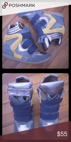 Steve Madden Sneaker Wedges Comfortable wedges to wear with your athleisure outfits. Good condition; worn for sitting pretty. Colors: dk grey, lt grey, blue, yellow, and silver Steve Madden Shoes Wedges