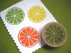 Citrus Slice Hand Carved Rubber Stamp, Lime, Lemon, Orange by drumchick99 on Etsy