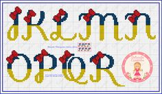 Cross Stitch Letters, Cross Stitch Baby, Diy Embroidery, Cross Stitch Embroidery, Disney Letters, Crochet Letters, Disney Cross Stitch Patterns, Disney Crafts, Letters And Numbers