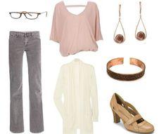 January 5, 2012: Pink tie-back blouse, grey corduroy pants, white cardigan, tan Aerosoles, pearl teardrop earrings, copper cuff, glasses