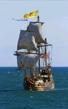 Duyfken 1606 (Barque) replica in Fremantle taking part in the Tall Ship Festival by Nigel Donald