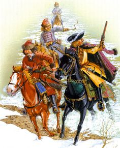 Russian Boyar cavalry fleeing from Narva during the Great Northern War, after King Charles XII of Sweden's victory