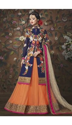 Orange Net And Santoon Lehenga With Art Silk Choli - DMV10392