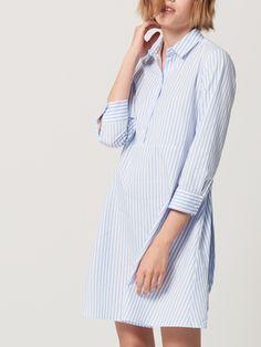 Světle modré proužkované košilové šaty, ŠATY, OVERALY, vícebarevn, MOHITO