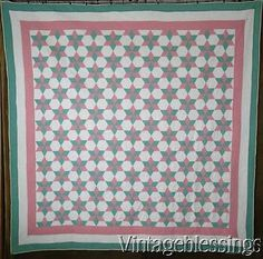 Gorgeous-Vintage-30s-Green-Pink-Touching-Stars-QUILT-79-x-79-ng