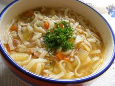 Chicken Noodle Soup. Had to tweak the recipe to fit what I had on hand, but all in all a resounding success!