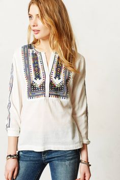 Daystitch Peasant Blouse - anthropologie.com
