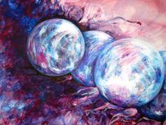 """""""G 5 Die Leichtigkeit des Sein"""", Acryl auf Lana, gerahmt auf 50 x 70 cm Cabbage, Corning Glass, Cabbages, Brussels Sprouts, Sprouts"""