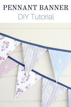 How to make a simple and easy fabric paper pennant banner. This charming DIY triangle flag fun tutorial is perfect for parties like of July holiday summer home decor children's nursery bedrooms boys or girls porch mantle entryway and more. Pennant Banner Template, Diy Banner, Flag Banners, Triangles, Country Chic Cottage, Country Farmhouse, Pendant Banner, American Flag Decor, Triangle Banner