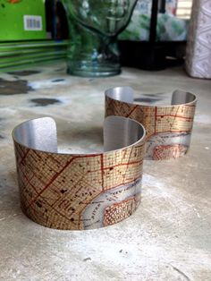 I SO NEED THIS!!!!   Fleurty Girl - Everything New Orleans - Vintage NOLA Map Cuff Bracelet - Jewelry - Footwear & Accessories