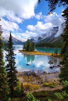 The Maligne Lake in Jasper National Park, Alberta, Canada.