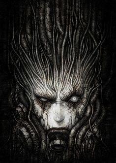 Dark art for our inner demons — Digital Sci-Fi Works by. Arte Alien, Arte Sci Fi, Alien Art, Sci Fi Art, Arte Horror, Horror Art, Dark Fantasy Art, Dark Art, Biomech Tattoo