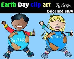 Freebie;  Earth day clip art  set features:2 kids in color  2 kids in black & white All images are 300dpi.This clipart license allows for personal, educational, and commercial small business use. If using commercially, or in a freebie, credit to my store by a link is required and appreciated.