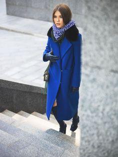 Коллекция осень 2016 - Пальто зимнее удлиненное (арт.950) синее