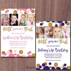 One Year in a Flash Birthday Party Invitation with four photo | Gold Glitter Dots | Sparkle First Birthday Girl Boy Invitation | Sparkle and Shine |  *** This listing is for a non-editable DIGITAL FILE only, no print will be sent.***  Its easy! I customize - you print!  7 colors to choose from. I can create your custom colors for an additional charge (see drop-down)  The invitation size is 5x7. You will receive two files; one PDF file and one JPG file.  **The PDF file will have two…