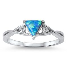Sterling Silver Unique Design Triangle Blue Opal Ring Sz 5-9 – Silvershasta.com