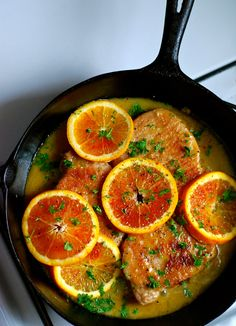 SKILLET PORK CUTLETS IN ORANGE SAUCE. Change/simplification: Added 1/2 cup white cooking wine and parsley at same time as OJ. Used very thin cutlets, so cooking time was much less.
