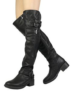 Dream Pairs Women s Argentina Black Over The Knee Riding Boots Size 12 M Us f21e09800ec6